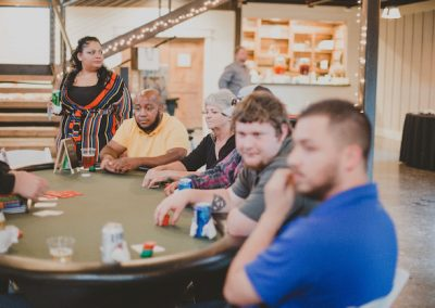 Men and women at a poker table